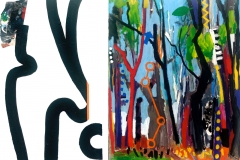 Woodlands,Signs and Sounds 2013 acrylic on canvas 76x102cm Hans,Louise Van