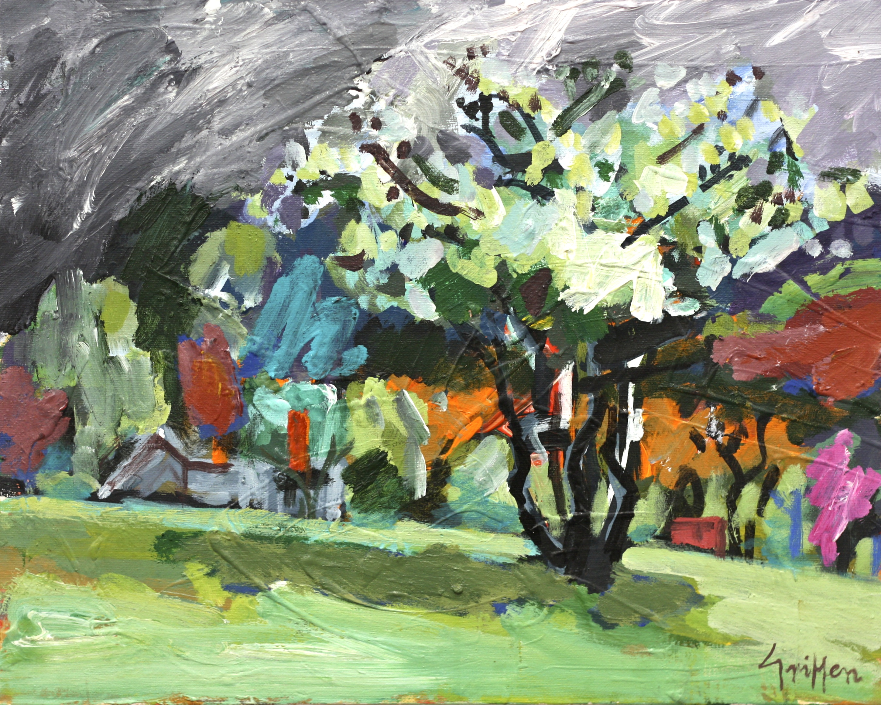 Blossom and Grey, Hill End 2010 acrylic on canvas 40x51cm