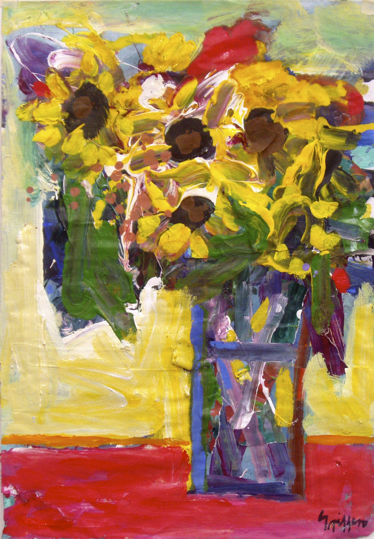 Sunflowers 1 2007 acrylic on paper 66x46cm