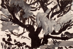 Black and White Spreading Tree acrylic on paper