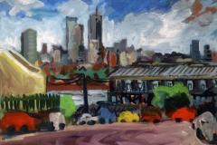 North Sydney from the Rocks acrylic on canvas 50x61cm