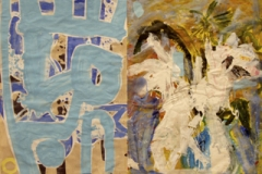 """""""White Flowers and a Blue Curtain"""" and a Cool  Breeze 94x120cm approx"""