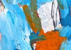 """""""Flowers in Orange Vase"""" 2006 acry on pap71x50cm"""