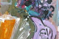 Purple Jug of Flowers 2009 acr on pap 59x42cm